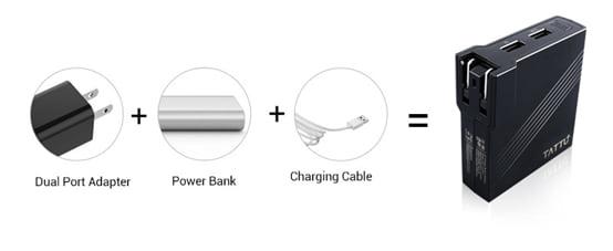 Tattu 2in1 5200mah AC Portable Power Bank