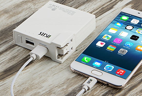 iKits 5200mAh 2-in-1 Power Bank with Built-in AC Plug